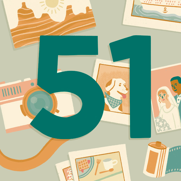 Number 51 with symbols for photos and cameras [Anniversary Gifts by Year]