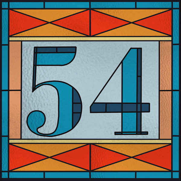 Number 54 with symbols for glass [Anniversary Gifts by Year]