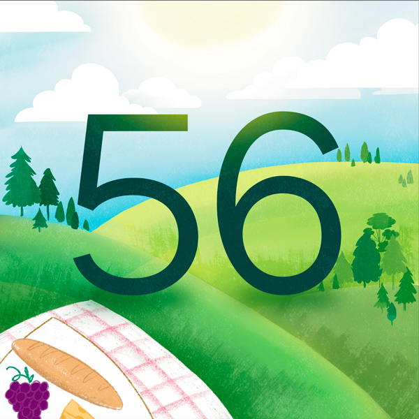 Number 56 with symbols for day [Anniversary Gifts by Year]