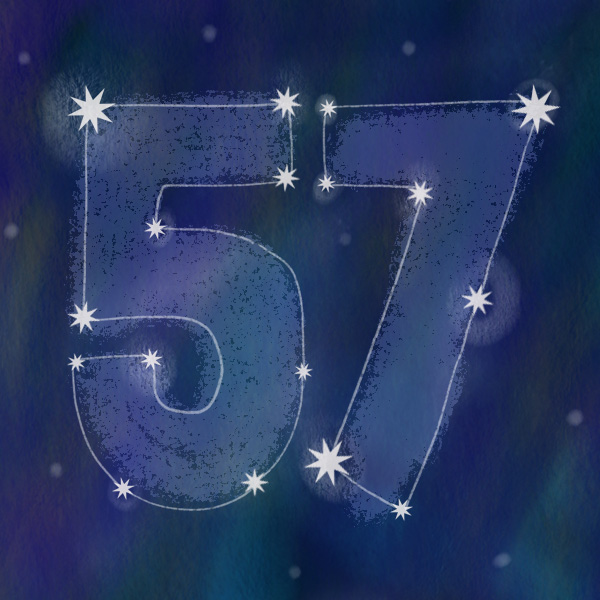 Number 57 with symbols for night [Anniversary Gifts by Year]