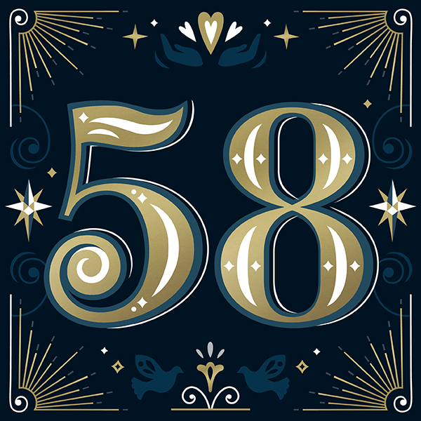 Number 58 with symbols for faith and hope [Anniversary Gifts by Year]