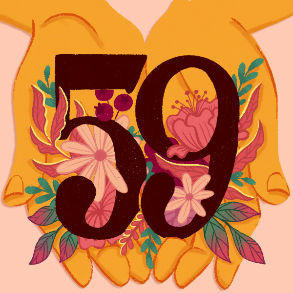 The number 59 with hands and flowers [Anniversary Gifts by Year]