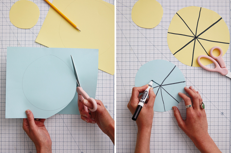 Cutting paper and drawing for activity spinners