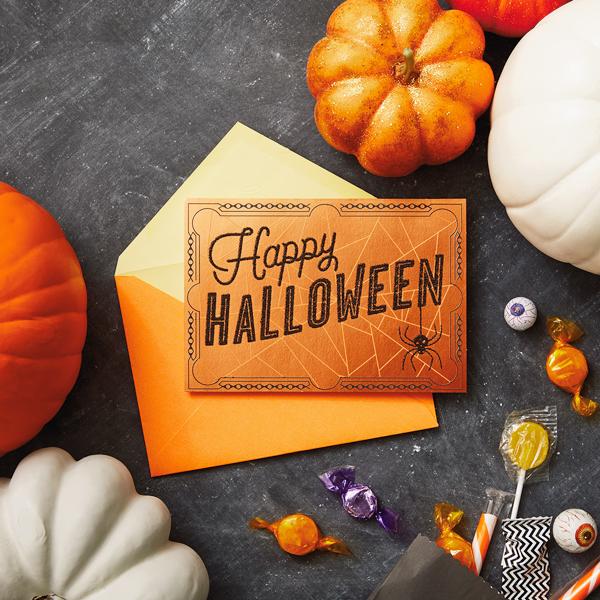 Happy Halloween card with pumpkins