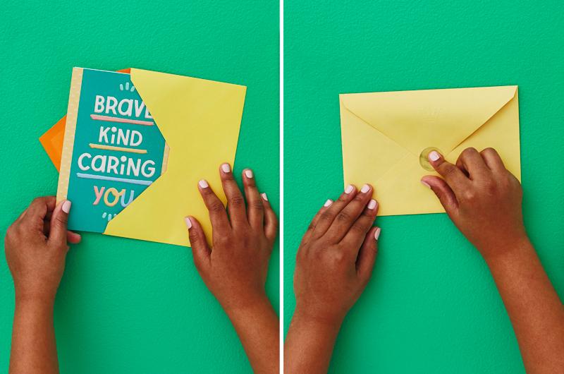 Kid putting card into envelope and addressing envelope
