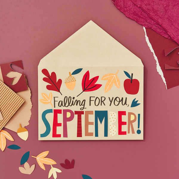 Falling for your September written on an envelope with leaves