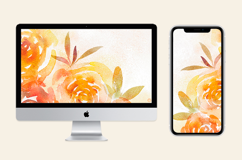 Fall backgrounds on desktop and mobile screens