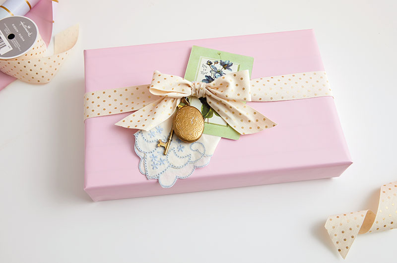Gift with personal touch with pink wrapping paper