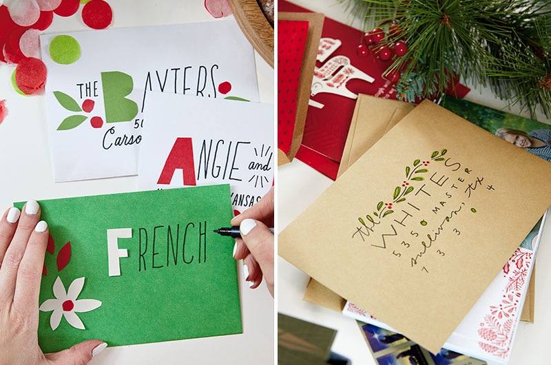 Side by side photos of piles of holiday cards in a variety of colored envelopes, decorated and addressed in hand-lettering