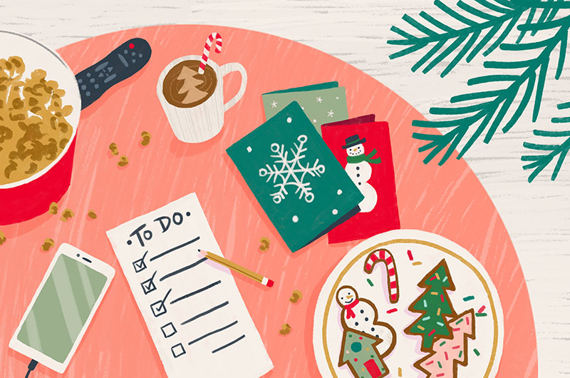 Holiday to-do's on a table