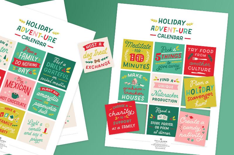 Advent calendar printables on a green backgorund