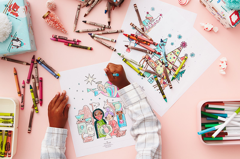 Kids hands coloring Christmas coloring pages