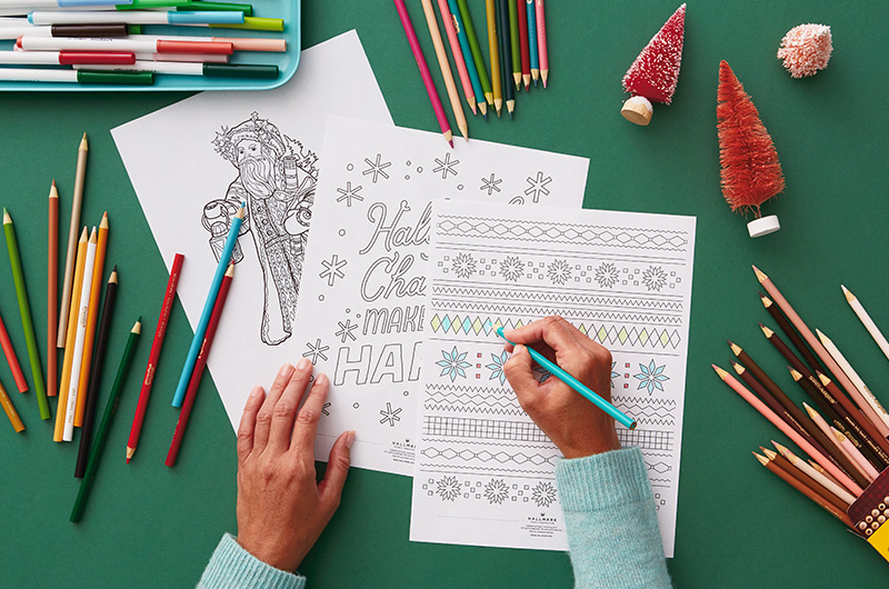 Hands coloring Christmas coloring pages